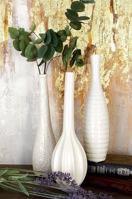 Willow Row White Modern Ceramic Bud Vase - Set of 3