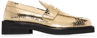 Marni Crocodile-Effect Leather Loafers