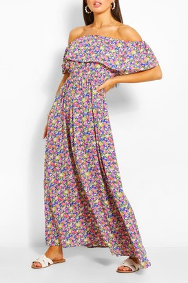 boohoo Off The Shoulder Floral Maxi Dress