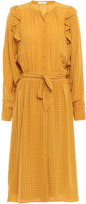 Joie Belted Ruffled Printed Crepe De Chine Midi Dress