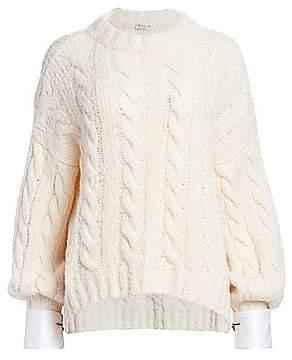 Brunello Cucinelli Women's Alpaca-Blend Balloon-Sleeve Cuffed Knit Sweater