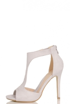 Quiz Grey Faux Suede T-Bar Heeled Sandals