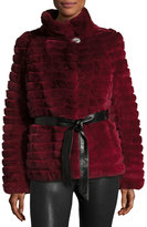 Gorski Reversible Down & Fur Belted Puffer Coat, Wine