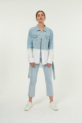 Jovonna London White Denia Denim Jacket - one size