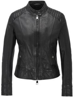 BOSS Biker jacket in structured nappa leather