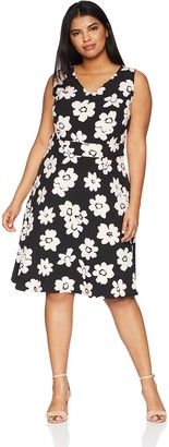 Nine West Women's Size Plus Sleeveless Floral Printed Crepe A-LINE Dress