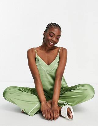 ASOS DESIGN mix & match satin pajama cami in sage