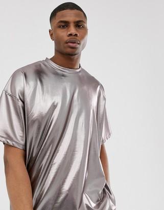 Asos Design DESIGN oversized t-shirt in gunmetal metallic-Silver