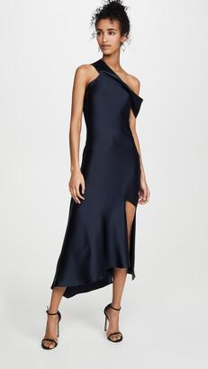 Cushnie Off the Shoulder Slip Dress with Cascading Skirt