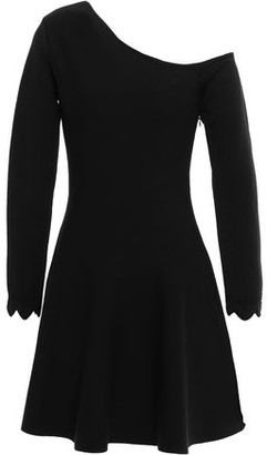 Oscar de la Renta Flared One-shoulder Wool-blend Mini Dress