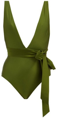 Zimmermann Empire Plunge-neck Bow-waist Swimsuit - Dark Green
