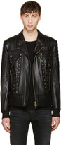 Balmain Black Leather Lace-Up Biker Jacket