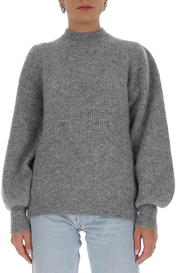 Ganni Balloon-Sleeve Knit Pullover