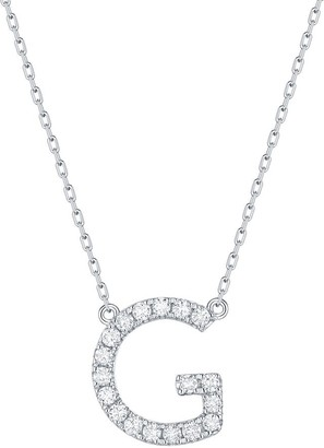 Lab Grown Diamond 'G' Letter Initial Necklace, 1/4 Ctw 10K White Gold by Smiling Rocks