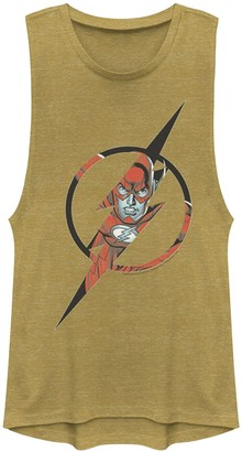 Licensed Character Juniors' DC Comics The Flash Face Logo Muscle Tank