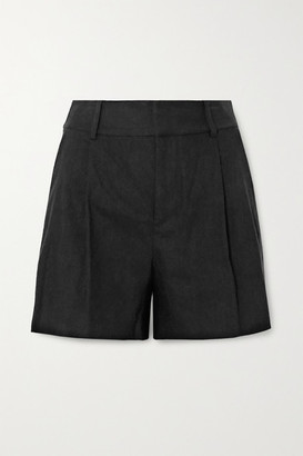Alice + Olivia Eric Pleated Linen-blend Shorts