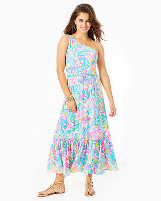 Lilly Pulitzer Mooney One-Shoulder Midi Dress