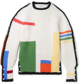 Thom Browne Colour-Block Ribbed Wool Sweater