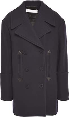 Victoria Victoria Beckham Victoria, Victoria Beckham Double-breasted Leather-trimmed Wool-blend Brushed-felt Coat