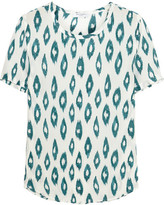 Equipment Riley Printed Washed-silk T-shirt - Teal