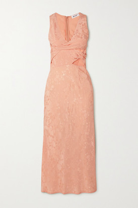 The Line By K Moon Twist-front Cutout Floral-jacquard Midi Dress - Peach
