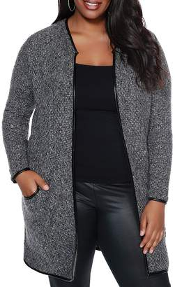 Belldini Plus Faux-Leather Trimmed Cardigan
