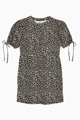 Topshop Black and White Animal Print Tea Jersey Mini Dress