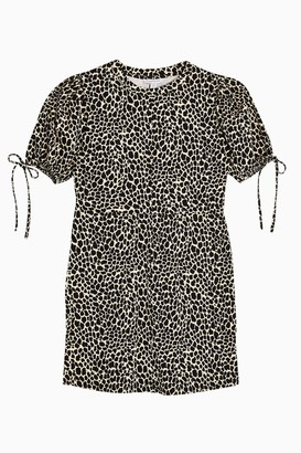Topshop Womens Black And White Animal Print Tea Mini Dress - Monochrome