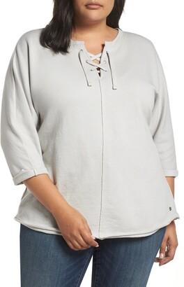 Jag Jeans Debbie Vintage Terry Lace-Up Neck Shirt