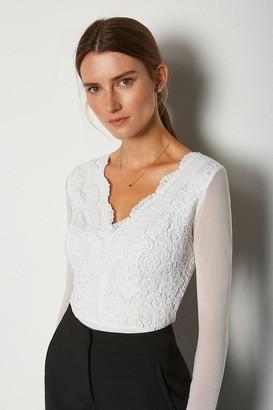 Karen Millen Long Sleeve Lace Bodysuit