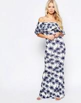 Club L Frill Top Maxi Dress In Palm Print