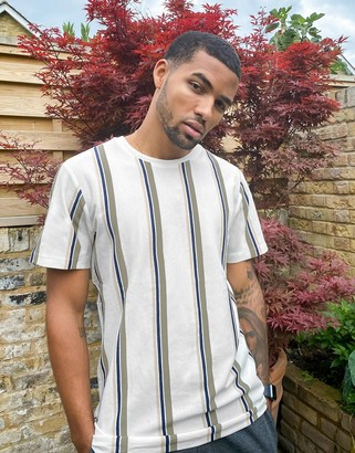 Selected t-shirt with vertical stripe in neutral
