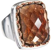 Barse Smoky Quartz & Silver-Plated Square Ring