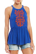 Miss Me Embroidered Peplum Tank Top