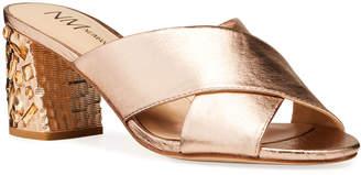 Neiman Marcus Metallic Jeweled Block Heel Mules