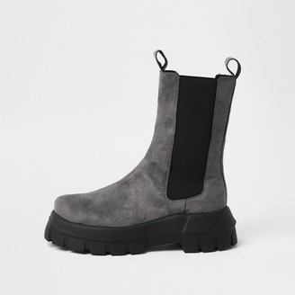 River Island Womens Grey faux suede chunky flat chelsea boots