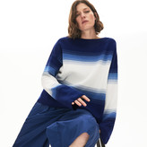 Lacoste Womens Made in France Organic Loose Fit Ombre-Stripe Sweater