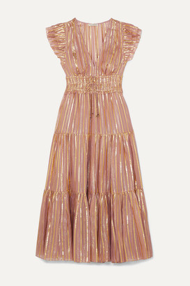 Ulla Johnson Justyne Metallic Tiered Silk And Lurex-blend Midi Dress - Blush
