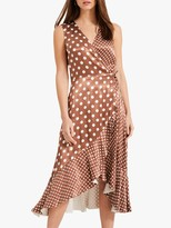 Phase Eight Bea Spot Wrap Midi Dress, Camel/White