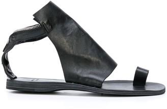 Officine Creative Back Zip Textured Panel Sandals