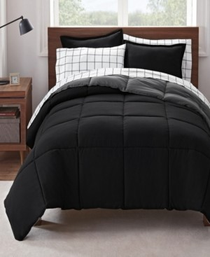 Serta Simply Clean Antimicrobial Reversible Twin and Twin Extra Long Bed in a Bag Set, 5 Piece Bedding