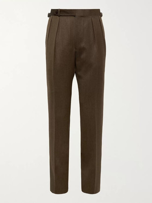 Beams Wool-Twill Suit Trousers - Men - Brown