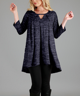 Aster Navy Blue Variegated Keyhole Hi-Low Tunic - Plus Too