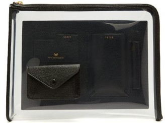 Anya Hindmarch Envelope Pvc And Grained-leather Pouch - Womens - Black
