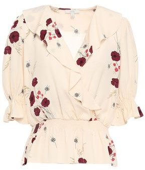 Joie Ottoline Wrap-effect Ruffled Floral-print Satin-jacquard Blouse