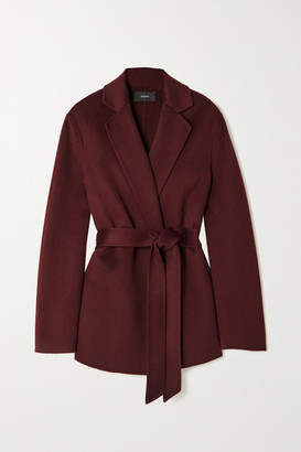 Joseph Cenda Belted Wool And Cashmere-blend Coat - Burgundy