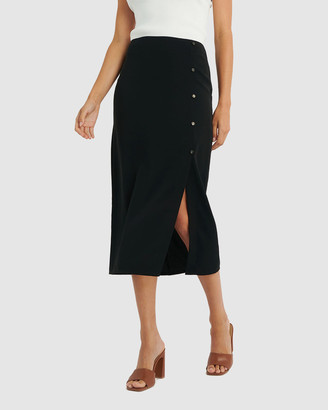 Forcast Women's Black Midi Skirts - Lori Front Split Midi Skirt - Size One Size, 6 at The Iconic