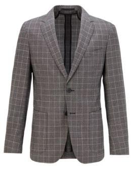 HUGO BOSS Slim-fit jacket in checked virgin wool