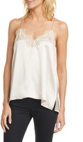 CAMI NYC The Racer Lace Trim Silk Camisole