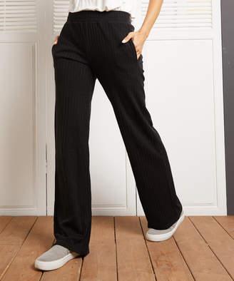 Simple By Suzanne Betro Simple by Suzanne Betro Women's Casual Pants 101BLACK - Black Ribbed Straight-Leg Pants - Women & Plus